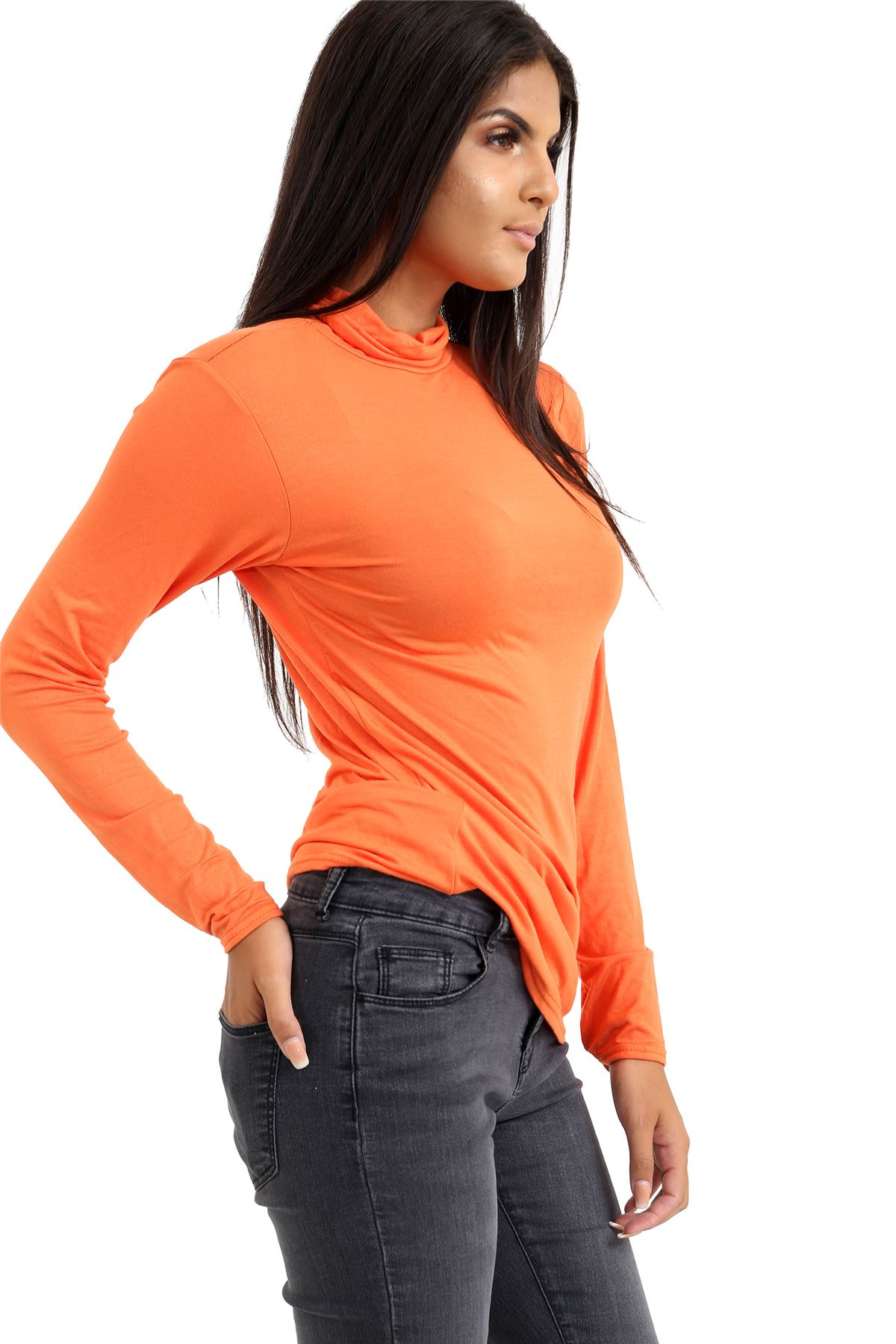 New-Ladies-Long-Sleeve-Plain-Turtle-Polo-Roll-Neck-Stretch-Jumper-T-Shirt-TeeTop thumbnail 84