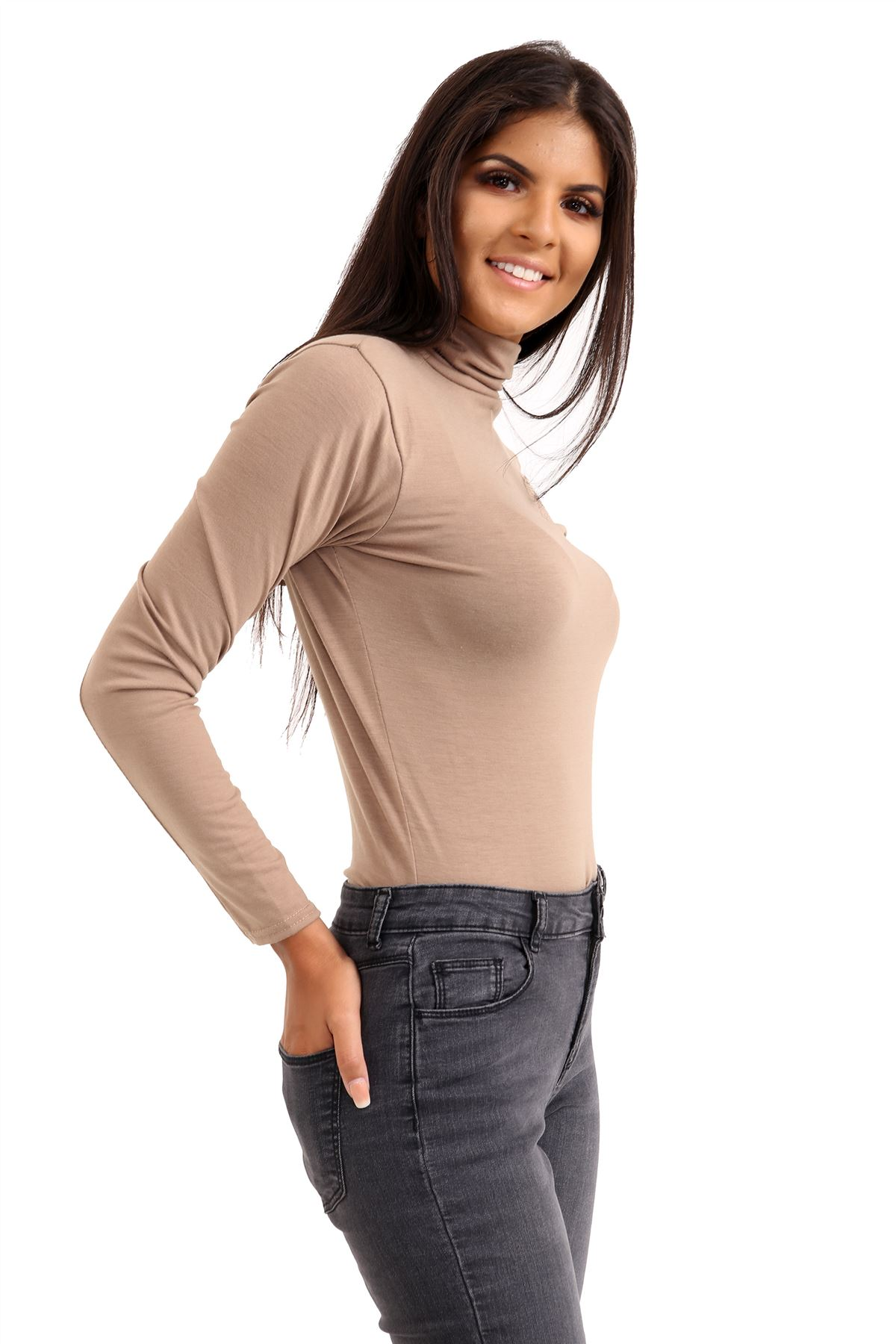 New-Ladies-Long-Sleeve-Plain-Turtle-Polo-Roll-Neck-Stretch-Jumper-T-Shirt-TeeTop thumbnail 71