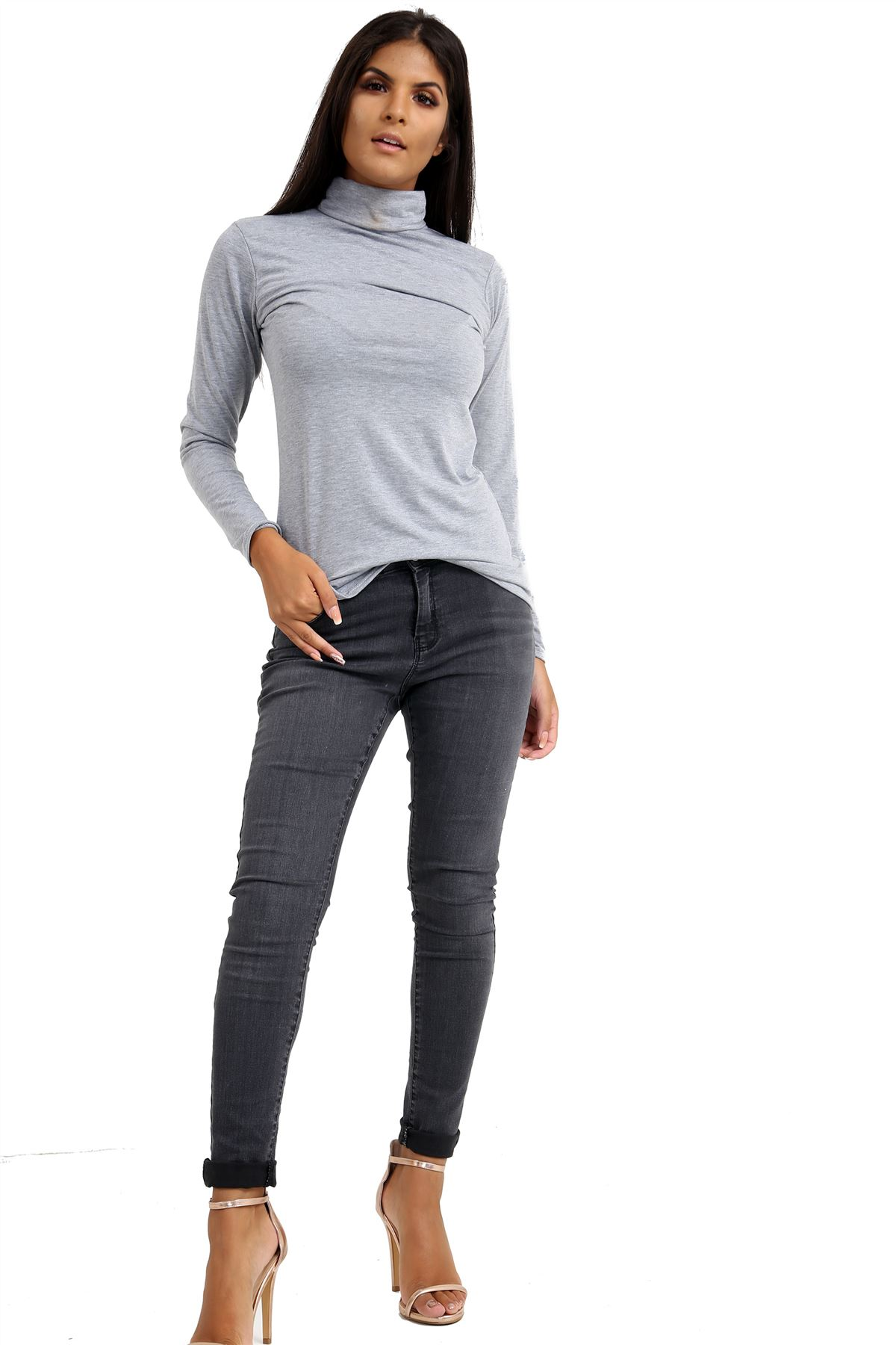 New-Ladies-Long-Sleeve-Plain-Turtle-Polo-Roll-Neck-Stretch-Jumper-T-Shirt-TeeTop thumbnail 48