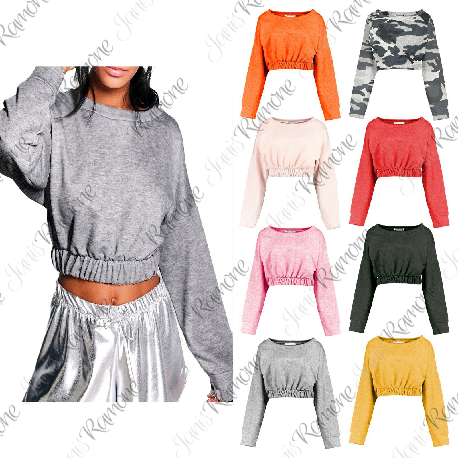 89061ce86617 Detalles de Nueva camiseta para mujer cenefa Elástica Manga Larga Top Corto  Jumper Pullover Sudadera Corto- ver título original