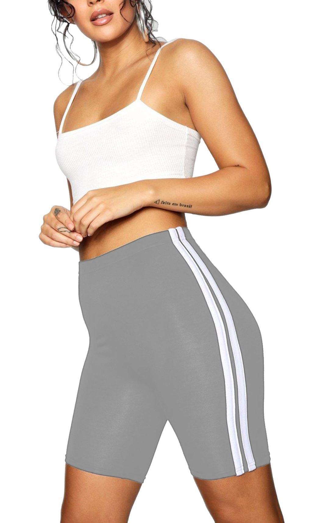 Women/'s Doppio Lato a Righe Donna Danza Active Gym Ciclismo Pantaloncini Plain PANTS