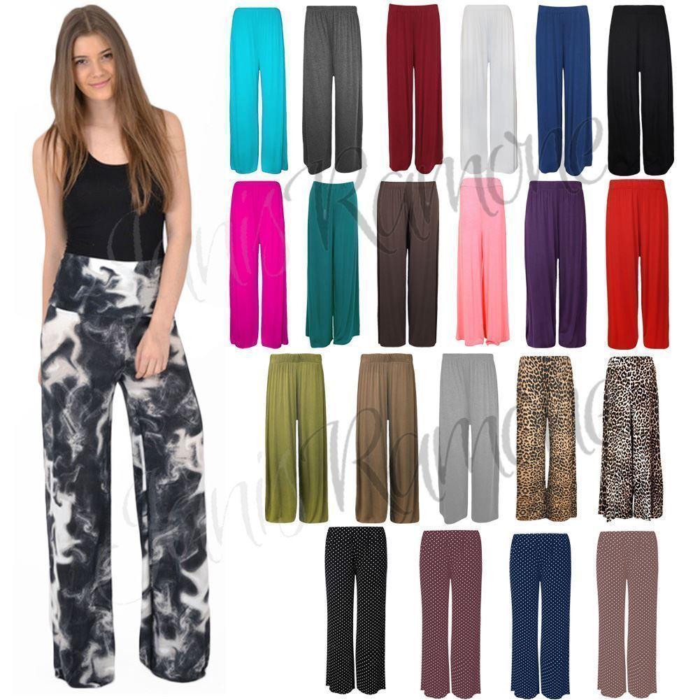 Ladies Womens Celeb Inspired Plain Wide Leg Palazzo Flared Trouser Pants 8-26