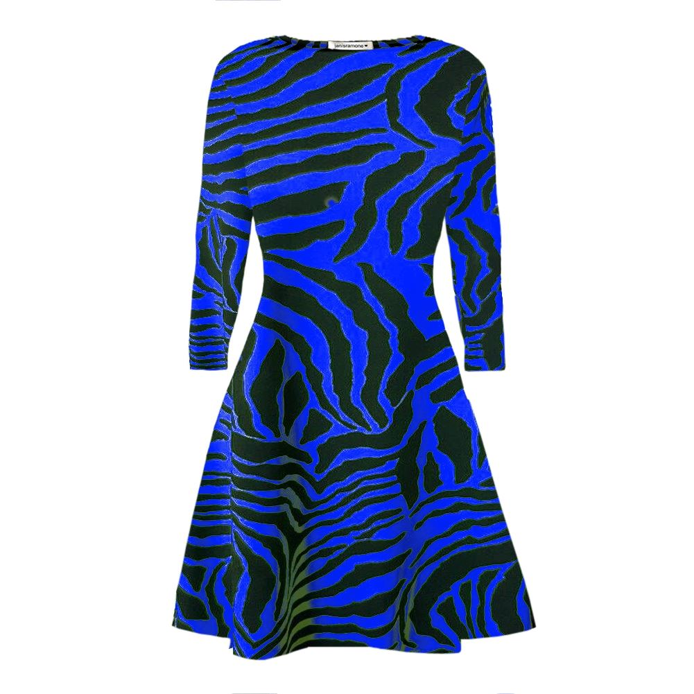 New Womens Zebra Print Long Sleeve Flared Skater Swing Dress Stretchy Mini Top