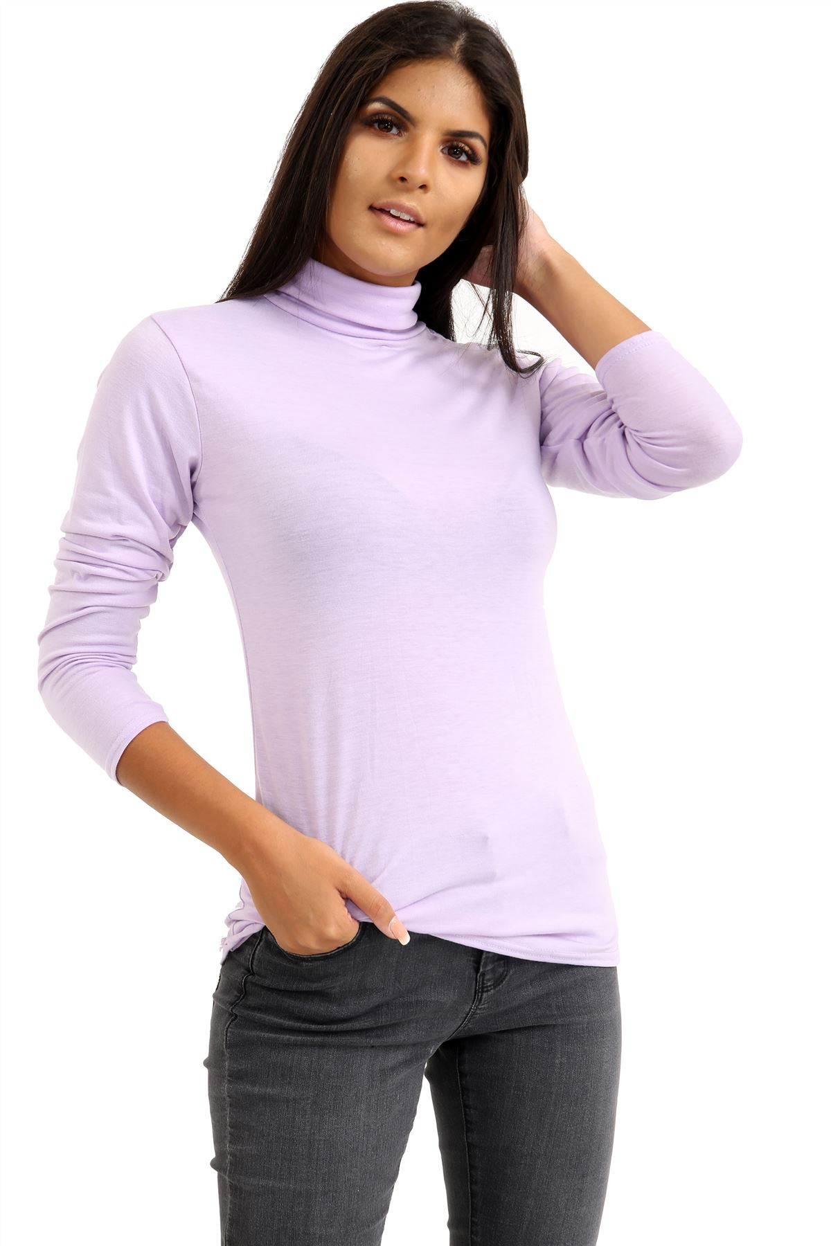 New-Ladies-Long-Sleeve-Plain-Turtle-Polo-Roll-Neck-Stretch-Jumper-T-Shirt-TeeTop thumbnail 60
