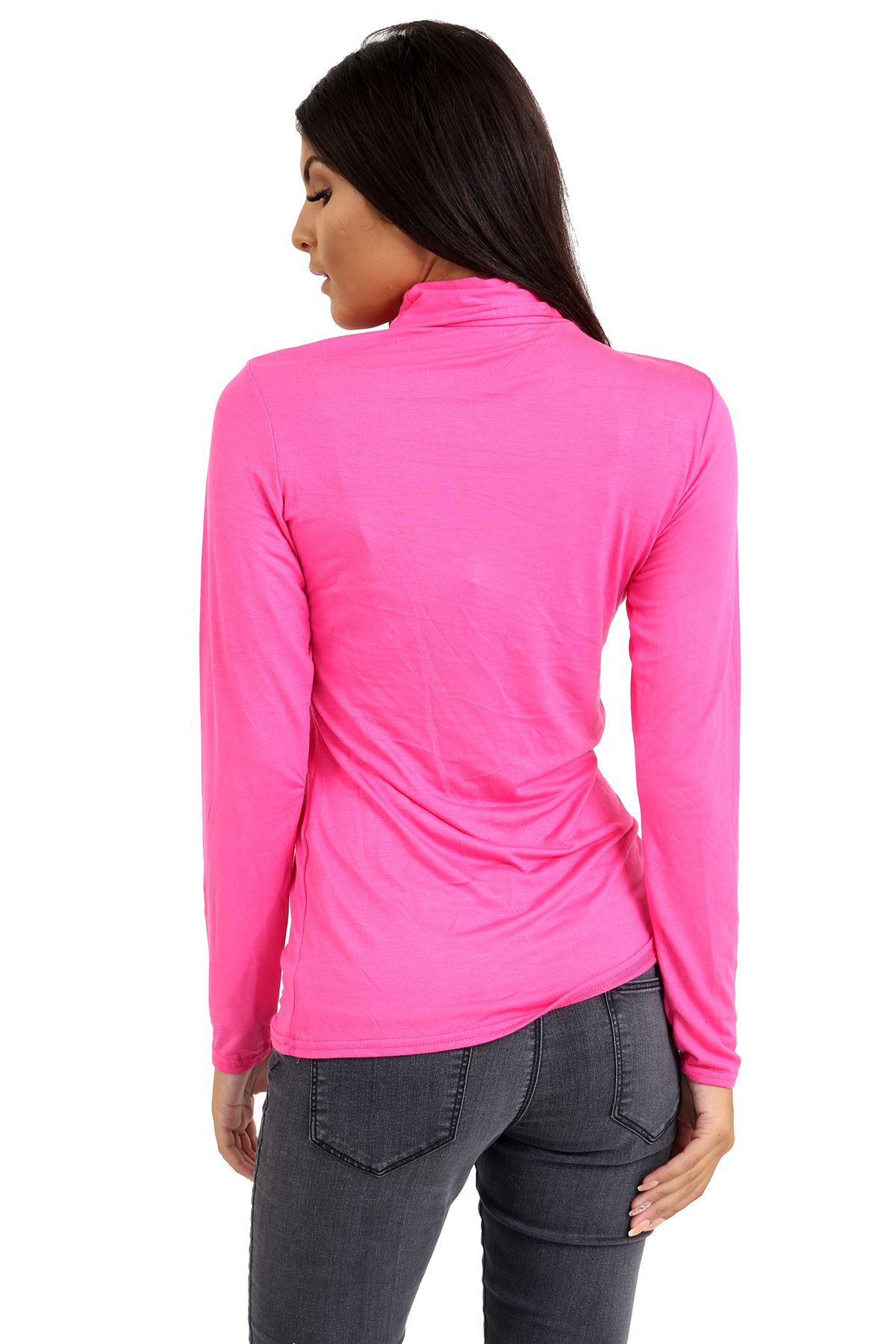New-Ladies-Long-Sleeve-Plain-Turtle-Polo-Roll-Neck-Stretch-Jumper-T-Shirt-TeeTop thumbnail 18