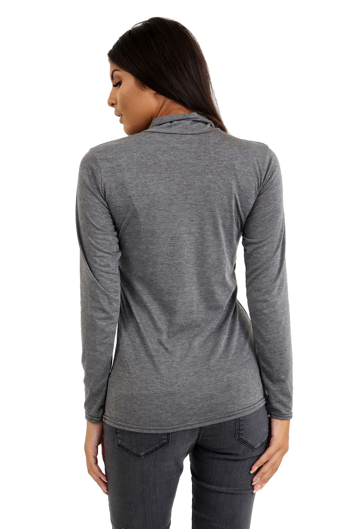 New-Ladies-Long-Sleeve-Plain-Turtle-Polo-Roll-Neck-Stretch-Jumper-T-Shirt-TeeTop thumbnail 24