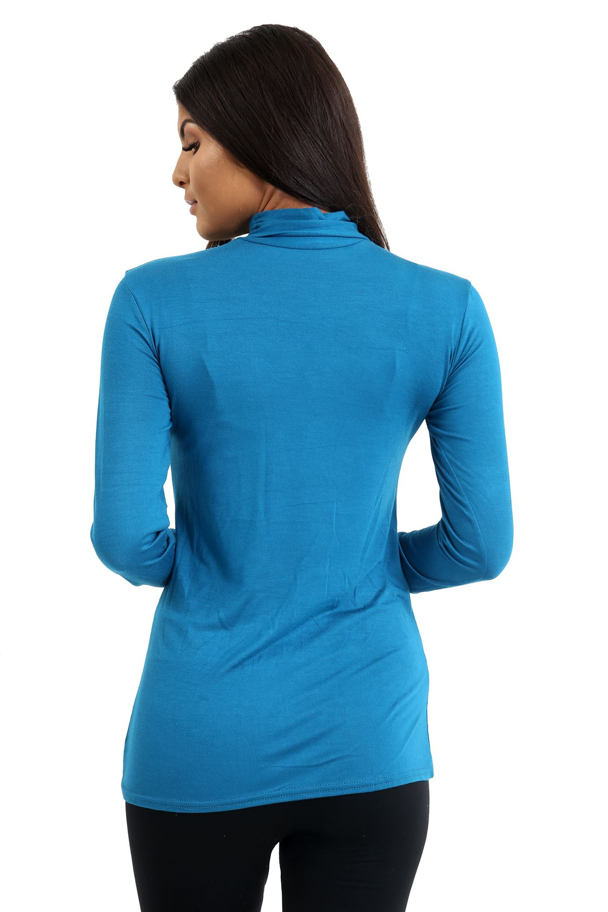 New-Ladies-Long-Sleeve-Plain-Turtle-Polo-Roll-Neck-Stretch-Jumper-T-Shirt-TeeTop thumbnail 121