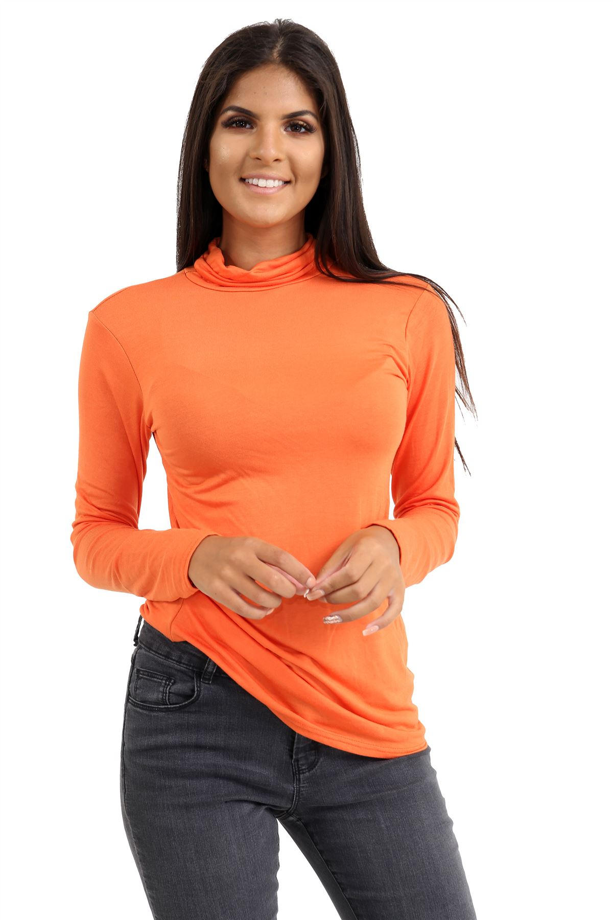 New-Ladies-Long-Sleeve-Plain-Turtle-Polo-Roll-Neck-Stretch-Jumper-T-Shirt-TeeTop thumbnail 82