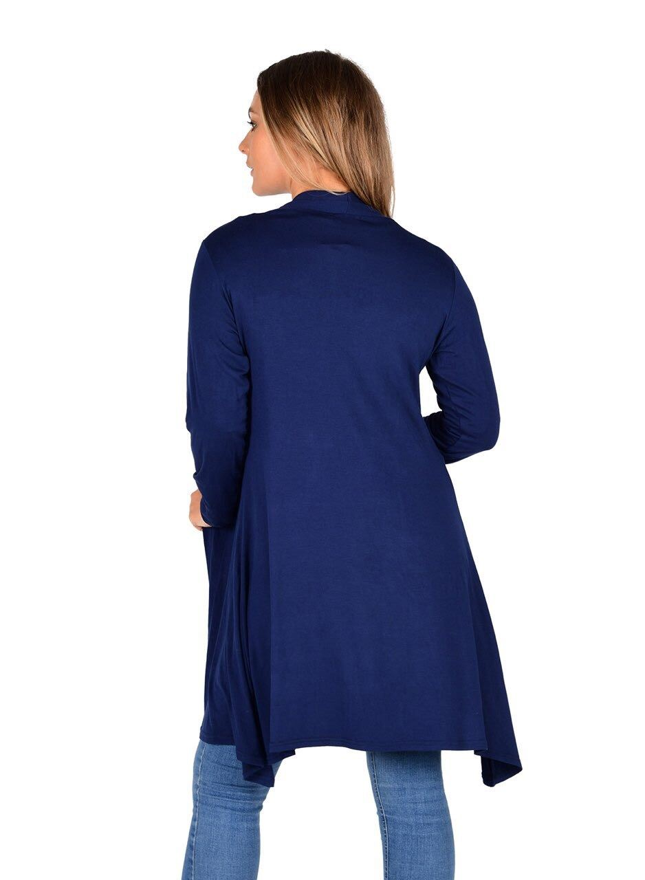 New-Womens-Open-Front-Knee-Length-Plain-Cardigan-Long-Sleeve-Party-Casual-Top miniatura 14