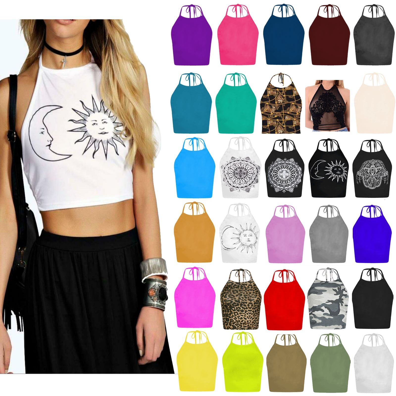 8f48e2cfda5 Details about New Womens Ladies Tie Up Halter Neck Plain Crop Top  Sleeveless Vest T Shirt Tops