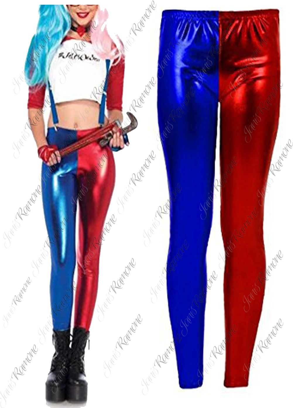 855a67f8014a3 Details about New Womens Red Blue Costume Suicide Squad Metallic Shiny Look Leggings  Pants