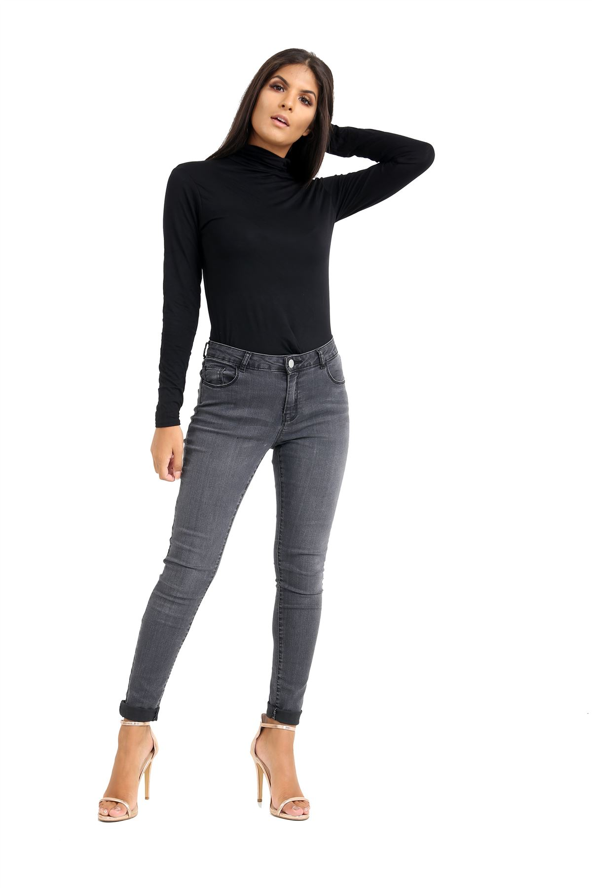 New-Ladies-Long-Sleeve-Plain-Turtle-Polo-Roll-Neck-Stretch-Jumper-T-Shirt-TeeTop thumbnail 15