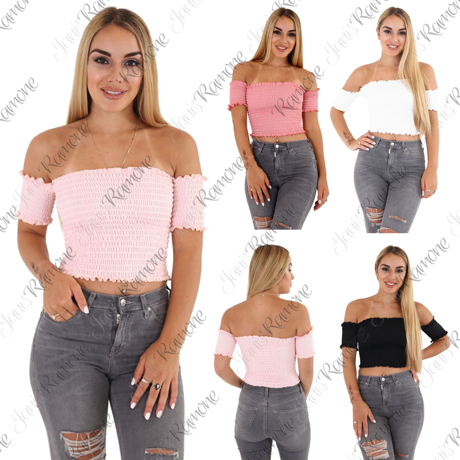 a08ccc988ca325 Details about New Womens Plain Sheer Ruched Stretch Bandeau Off Shoulder  Short Sleeve Crop Top
