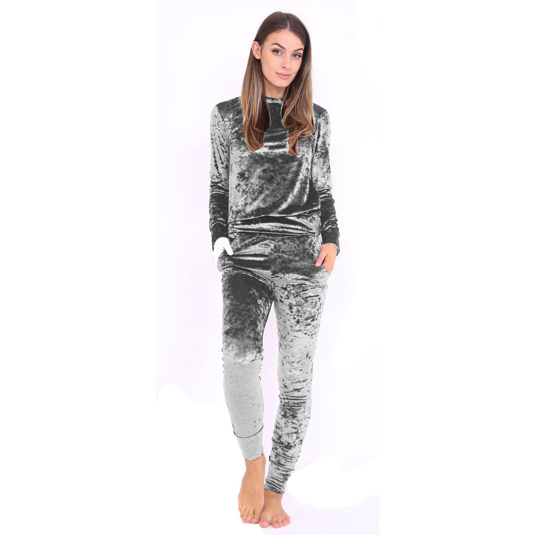 New Womens Crushed Velour Velvet Jogger Loungewear 2 Piece Co-ordinate  Tracksuit d510350524