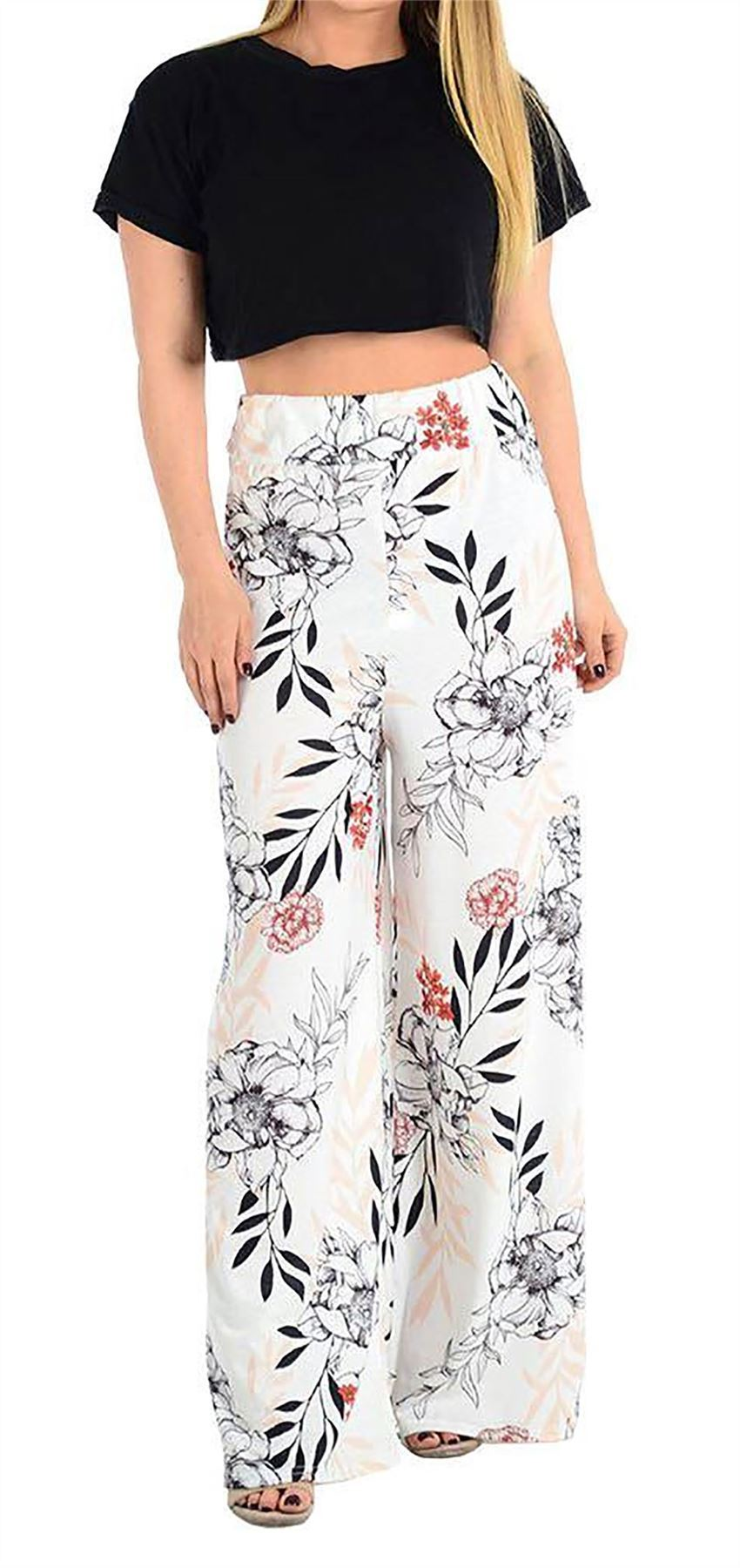 New-Ladies-Floral-Printed-Wide-Leg-Flared-Parallel-Baggy-Trousers-Pants-Palazzo thumbnail 22