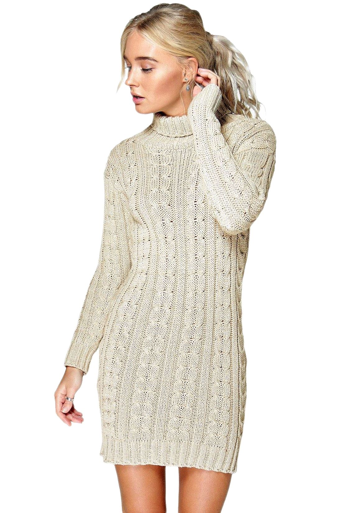 New-Ladies-Cowl-Polo-Neck-Cable-Knitted-Jumper-Pull-Bodycon-Tunic-Mini-Dress miniature 28