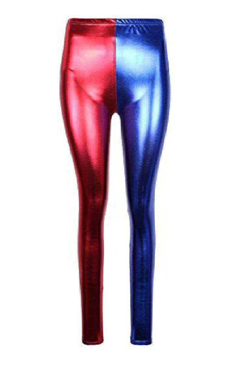 f087fa60ad049 New Womens Red Blue Costume Suicide Squad Metallic Shiny Look Leggings Pants
