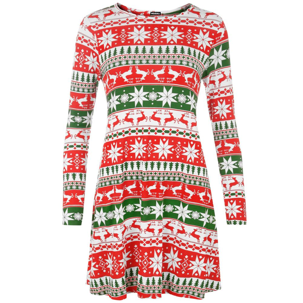 new womens long sleeves christmas print swing dress