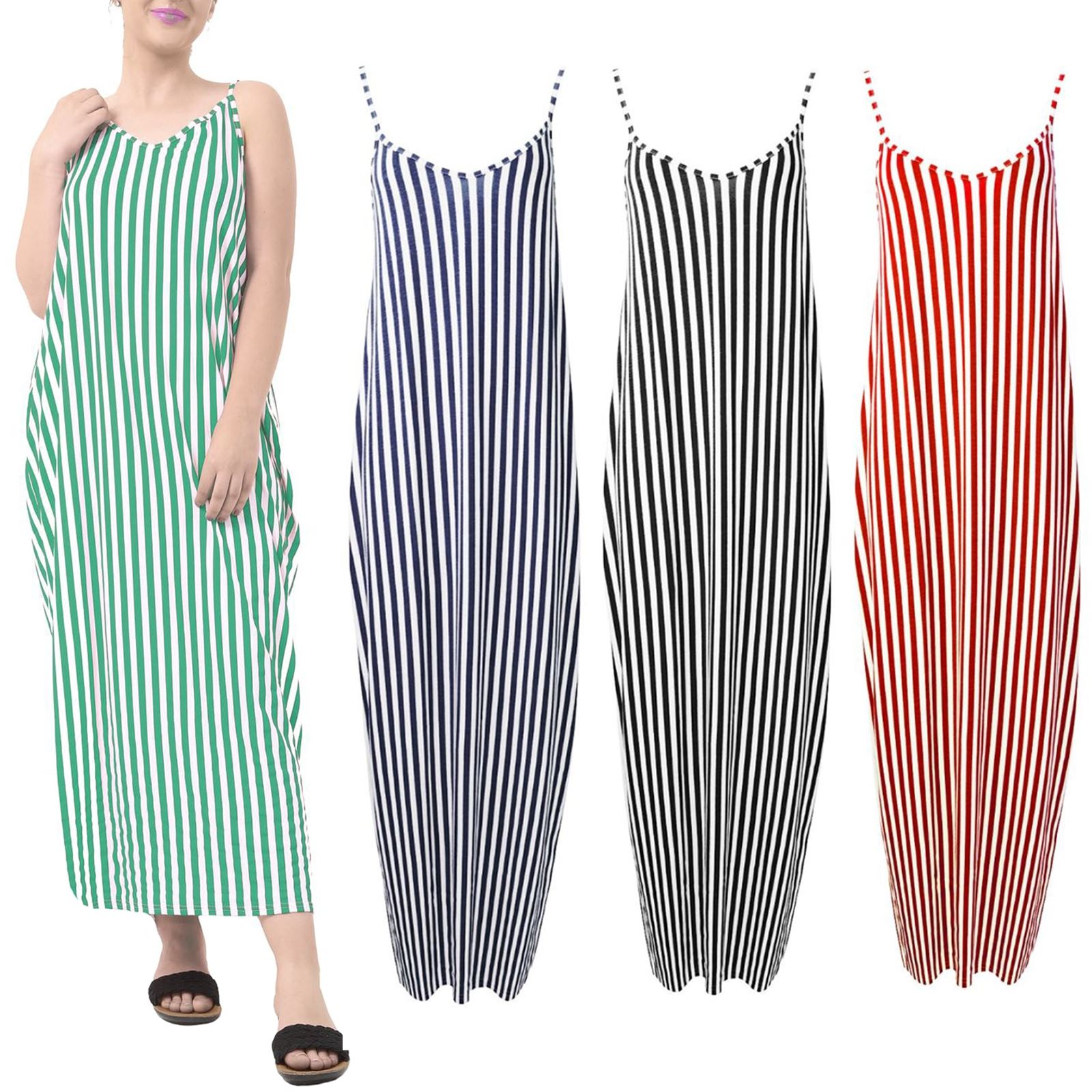 Womens summer  V Neck Maxi Dress Camisole Strappy Lagenlook Drape Baggy UK 8-26