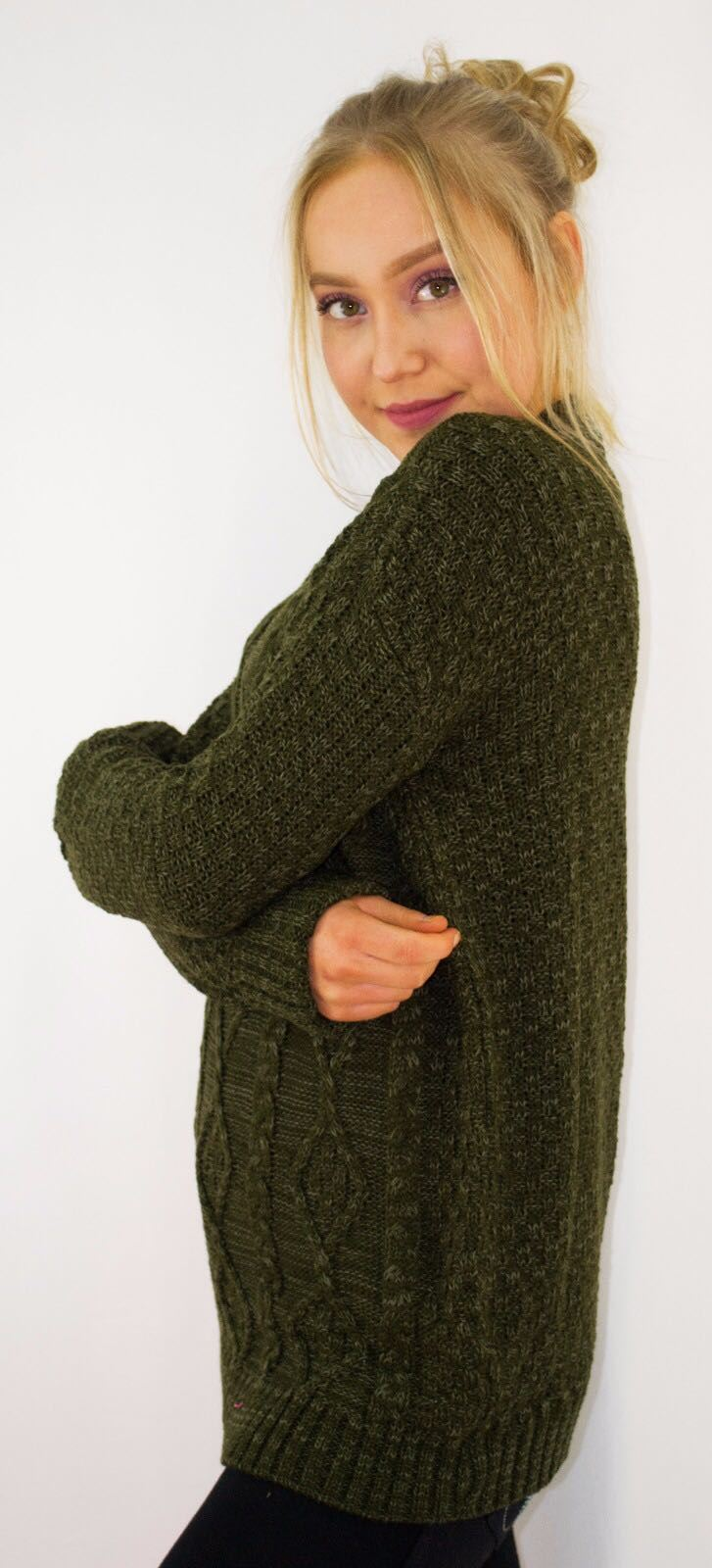 New-Ladies-Long-Manche-Chunky-Cable-Knitted-Jumper-crew-neck-hiver-Sweater-Top miniature 23