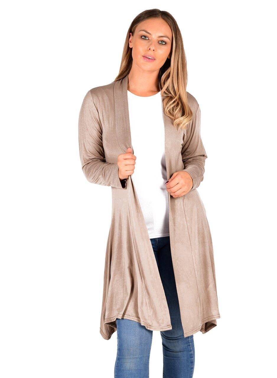 New-Womens-Open-Front-Knee-Length-Plain-Cardigan-Long-Sleeve-Party-Casual-Top miniatura 8