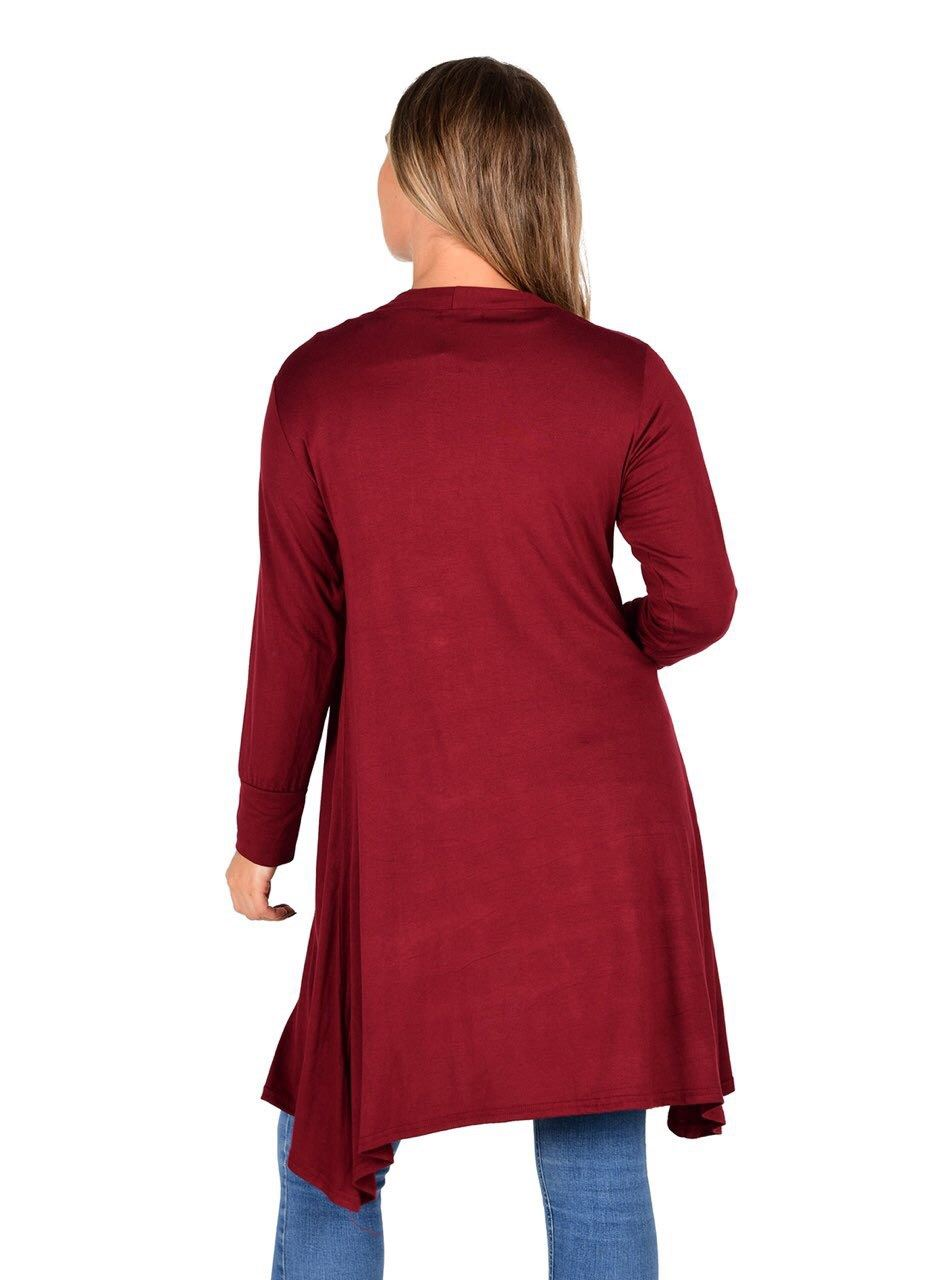 New-Womens-Open-Front-Knee-Length-Plain-Cardigan-Long-Sleeve-Party-Casual-Top miniatura 16