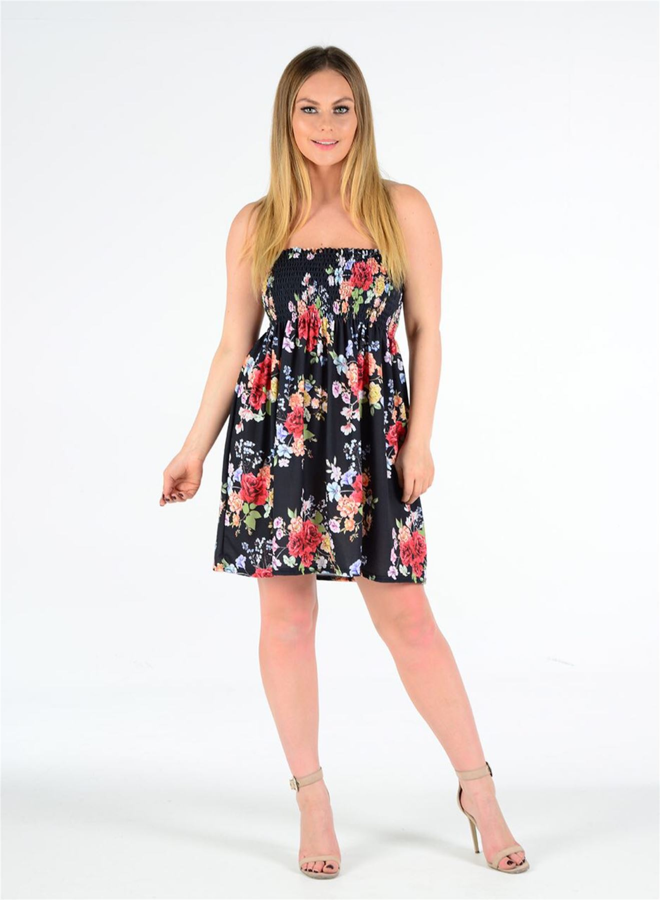 2cbdafdf03 Womens Floral Print Sheering Boobtube Bandeau Strapless Summer Mini ...