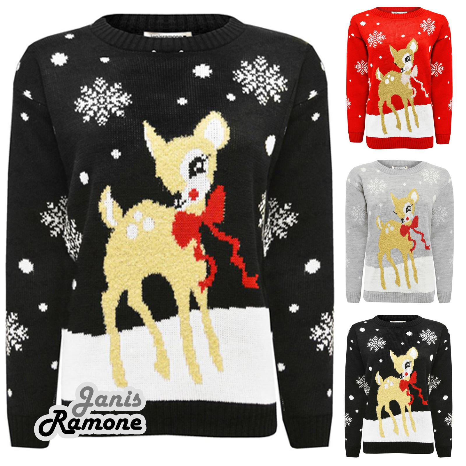 janisramone Kids Girls Boys New Christmas Baby Deer Bambi Novelty Xmas Party Knitted Jumper Sweater Top