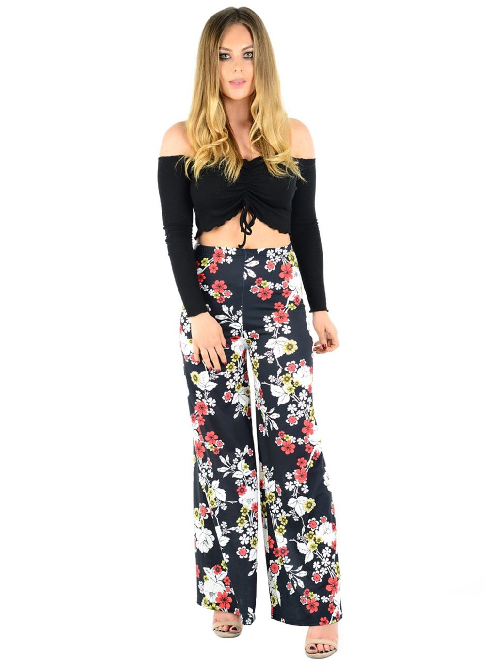 New-Ladies-Floral-Printed-Wide-Leg-Flared-Parallel-Baggy-Trousers-Pants-Palazzo thumbnail 81