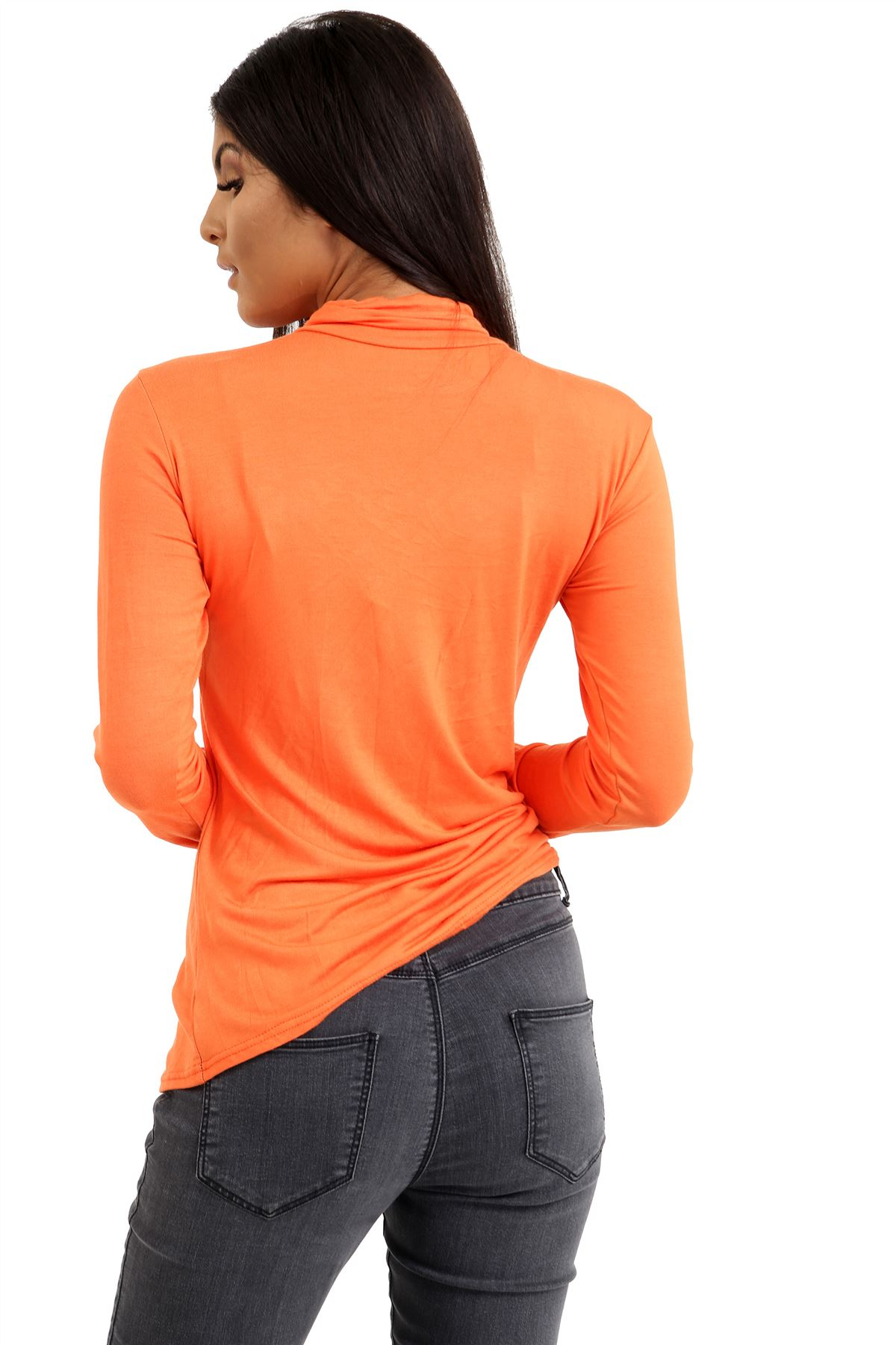 New-Ladies-Long-Sleeve-Plain-Turtle-Polo-Roll-Neck-Stretch-Jumper-T-Shirt-TeeTop thumbnail 81