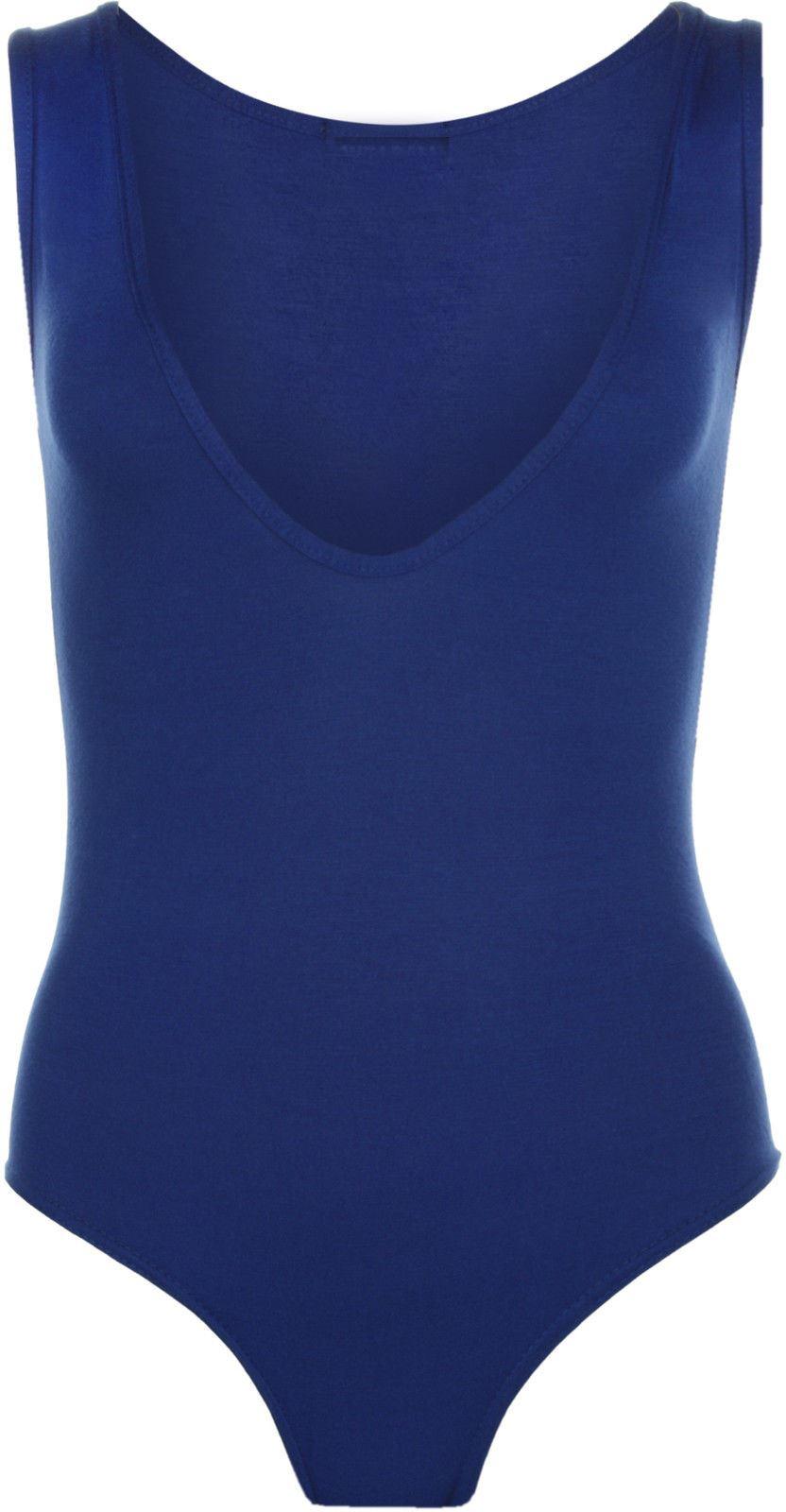 ae6b3da97b New Womens Ladies Deep V Neck Plain Bodysuit Sleeveless Stretch Leotard  Vest Top