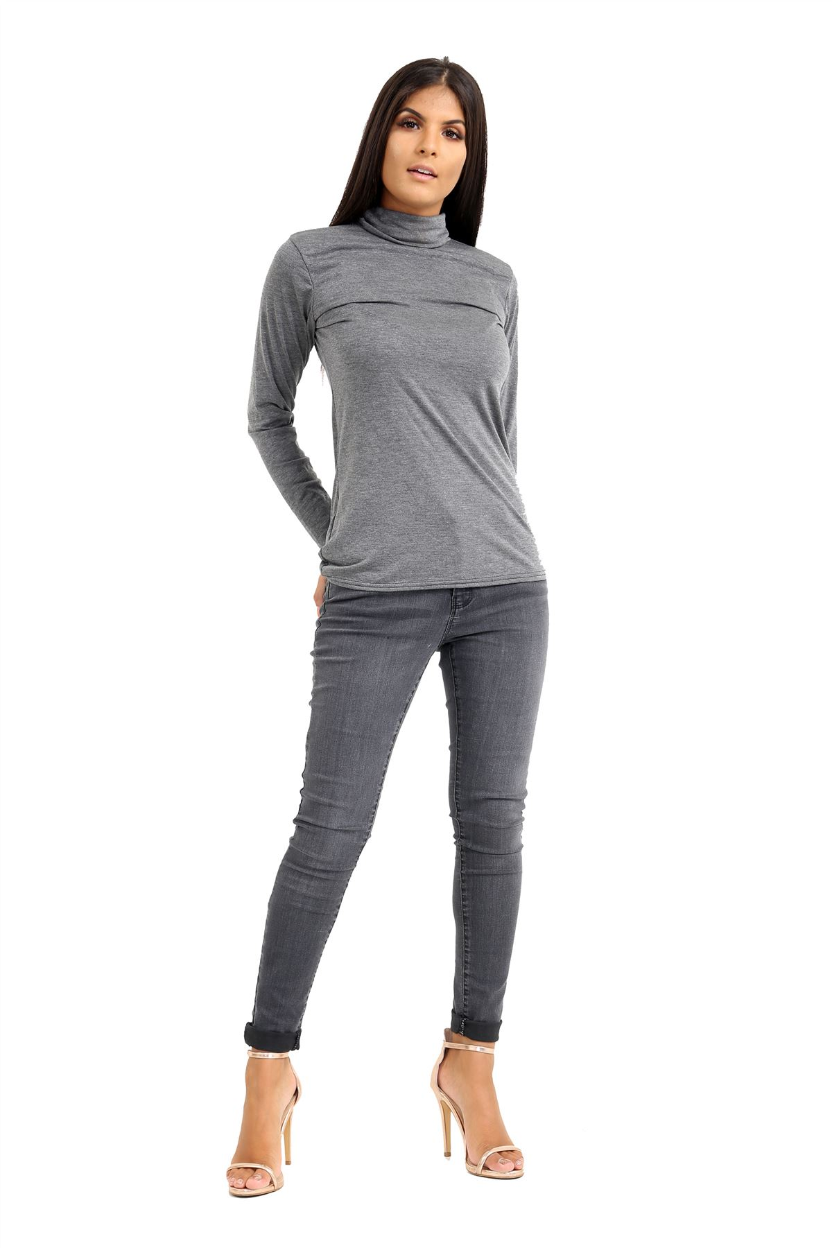 New-Ladies-Long-Sleeve-Plain-Turtle-Polo-Roll-Neck-Stretch-Jumper-T-Shirt-TeeTop thumbnail 54