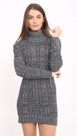 New-Ladies-Cowl-Polo-Neck-Cable-Knitted-Jumper-Pull-Bodycon-Tunic-Mini-Dress miniature 7