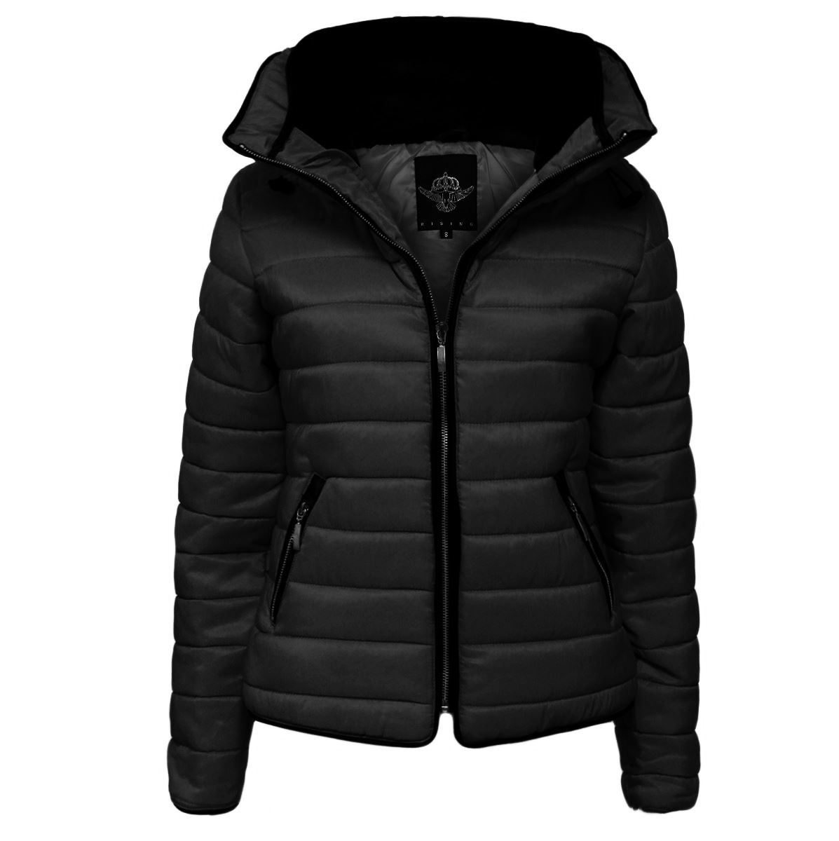 Womens Quilted Puffer Bubble Padded Jacket Fur Collar Gold Zip Up