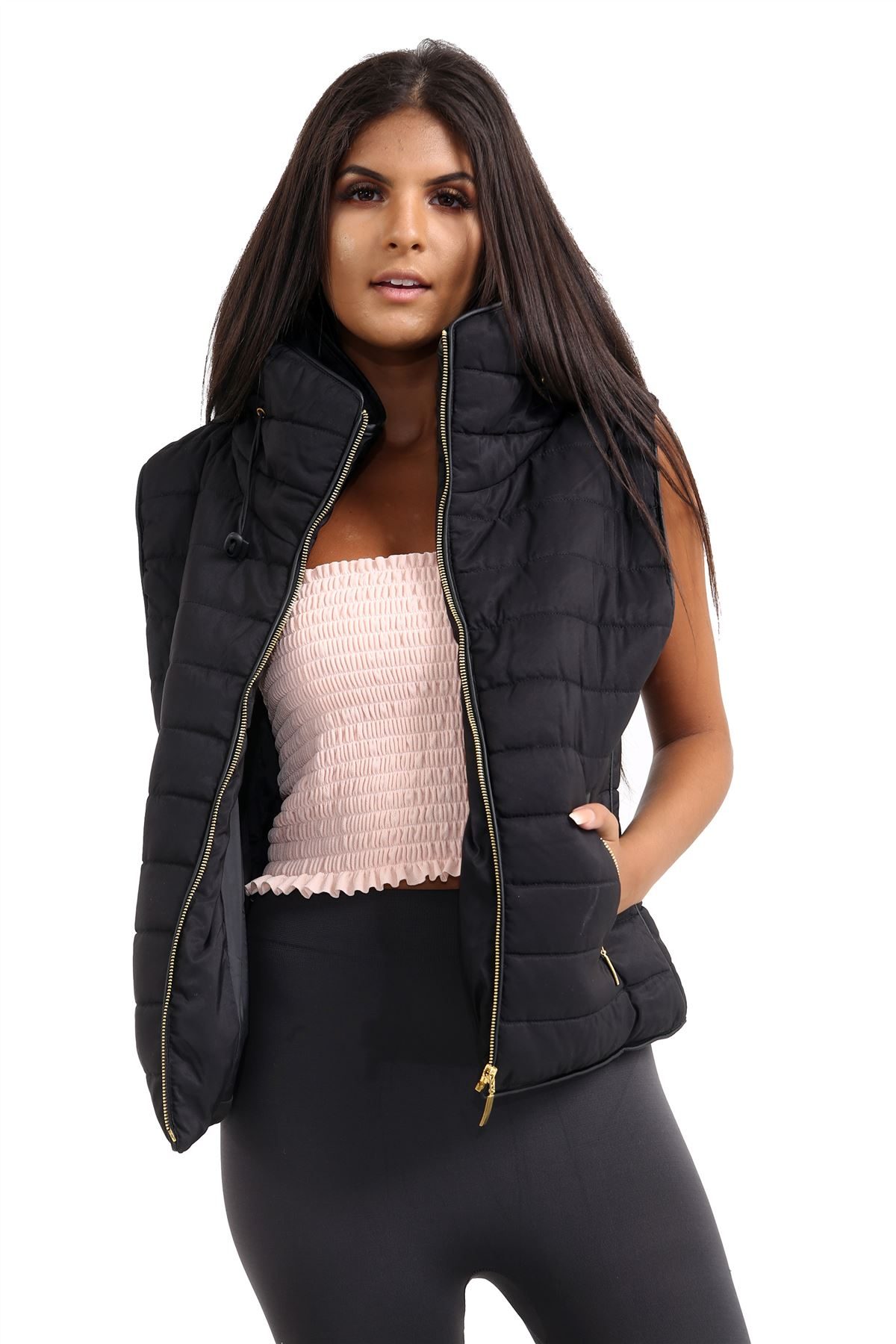 Ladies-Gilet-Quilted-Padded-Body-Warmer-Sleeveless-Fur-Collar-Puffer-Jacket-Coat thumbnail 4