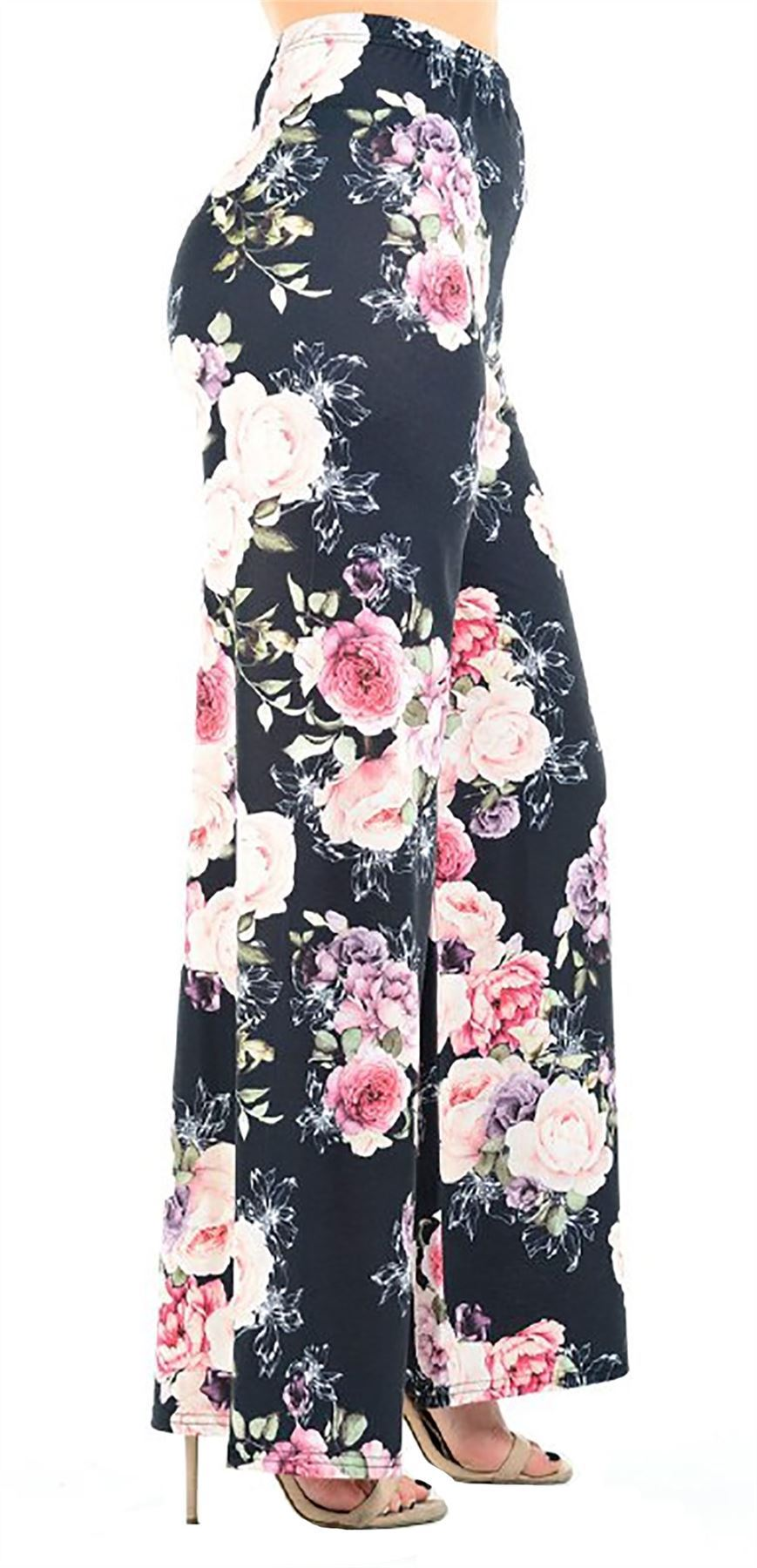 New-Ladies-Floral-Printed-Wide-Leg-Flared-Parallel-Baggy-Trousers-Pants-Palazzo thumbnail 91