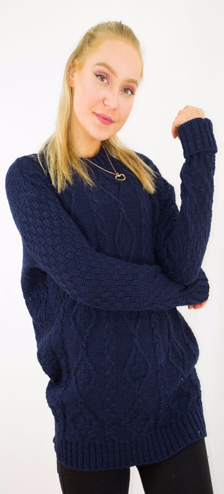 New-Ladies-Long-Manche-Chunky-Cable-Knitted-Jumper-crew-neck-hiver-Sweater-Top miniature 28