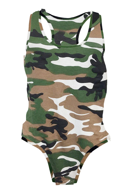 New Womens Ladies Army Printed Muscle Racer Back Sleeveless Bodysuit Leotard Top