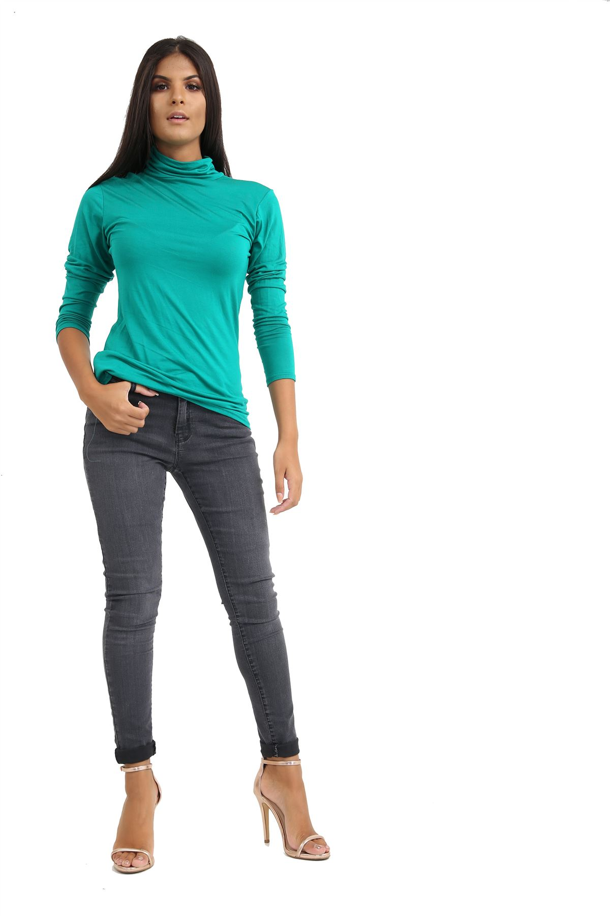 New-Ladies-Long-Sleeve-Plain-Turtle-Polo-Roll-Neck-Stretch-Jumper-T-Shirt-TeeTop thumbnail 45