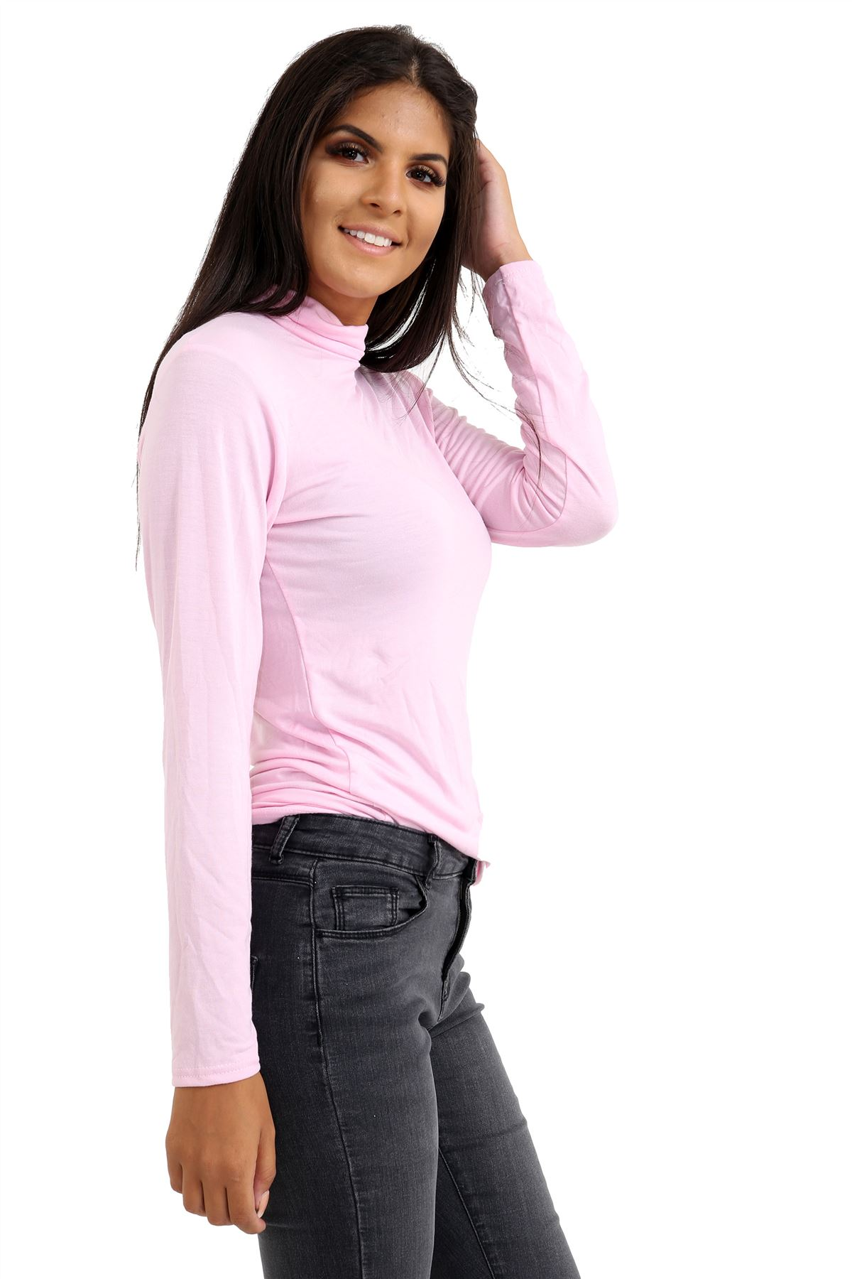 New-Ladies-Long-Sleeve-Plain-Turtle-Polo-Roll-Neck-Stretch-Jumper-T-Shirt-TeeTop thumbnail 6