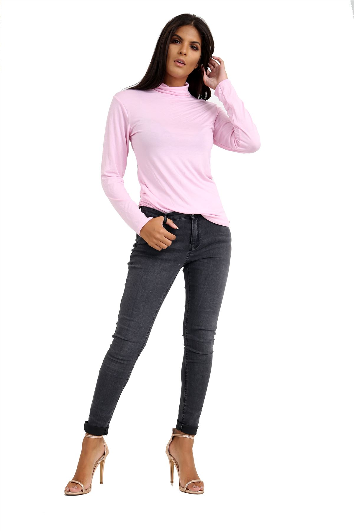 New-Ladies-Long-Sleeve-Plain-Turtle-Polo-Roll-Neck-Stretch-Jumper-T-Shirt-TeeTop thumbnail 5