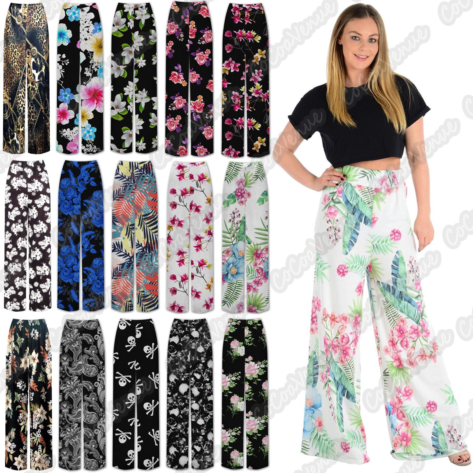 Plus Size Womens Floral Printed Wide Leg Trouser Palazzo Summer Parallel Pants