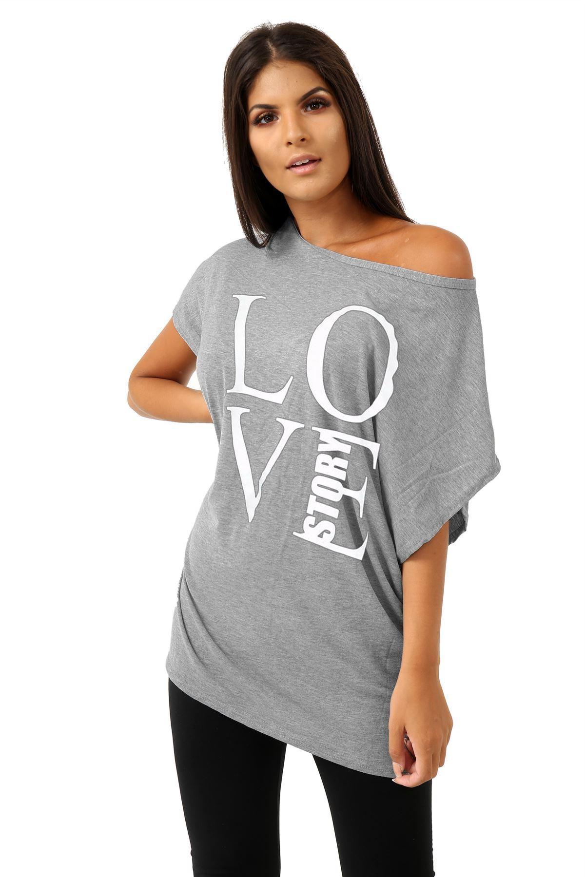 Plus-Size-Womens-Batwing-Sleeve-Printed-Off-Shoulder-Bardot-Oversize-T-Shirt-Top thumbnail 39