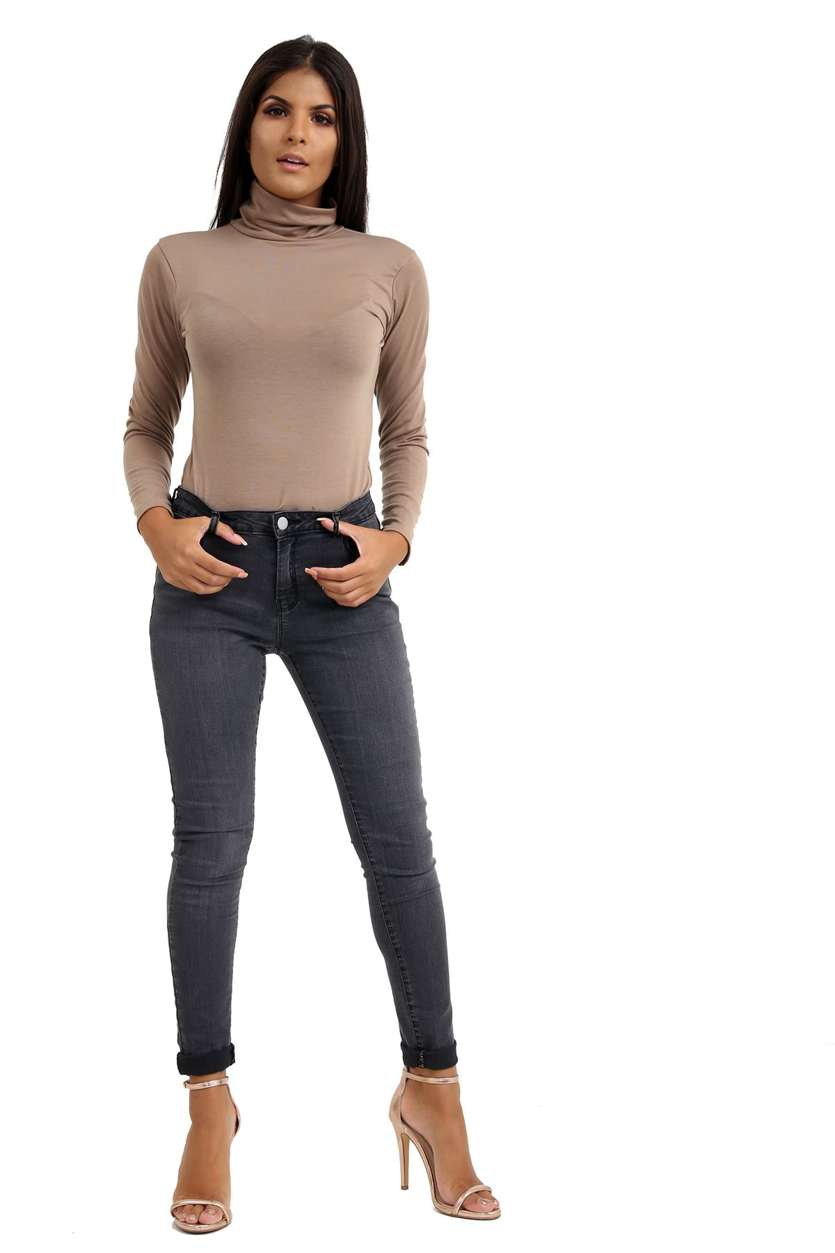 New-Ladies-Long-Sleeve-Plain-Turtle-Polo-Roll-Neck-Stretch-Jumper-T-Shirt-TeeTop thumbnail 69