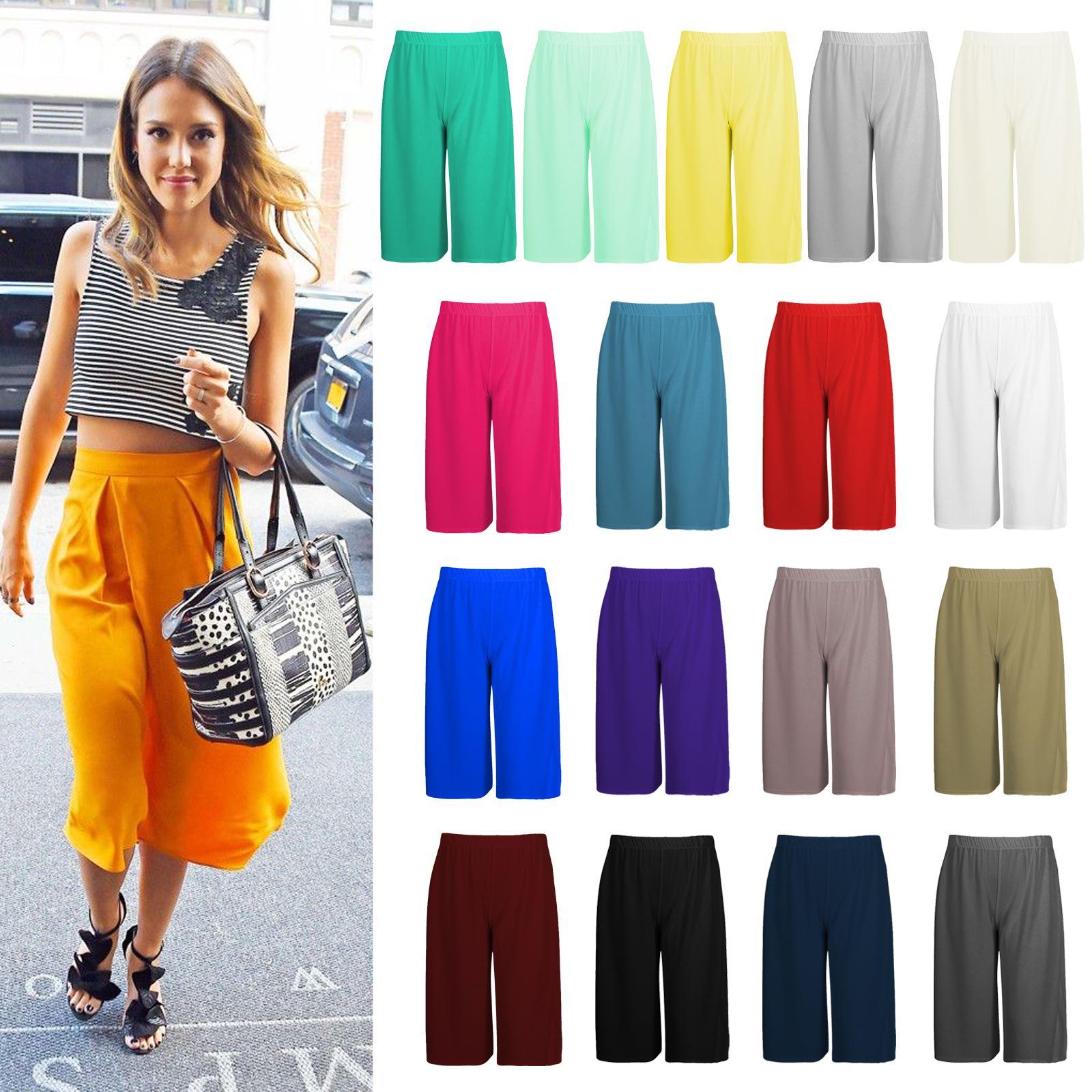 New Ladies Plain Wide Leg Culottes Short Palazzo 3//4 Length Summer Trousers Pant