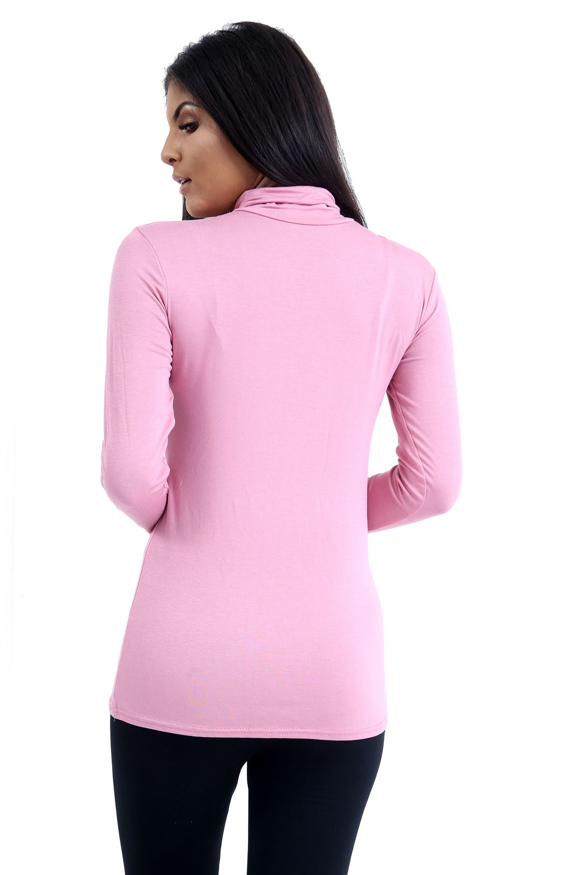 New-Ladies-Long-Sleeve-Plain-Turtle-Polo-Roll-Neck-Stretch-Jumper-T-Shirt-TeeTop thumbnail 96