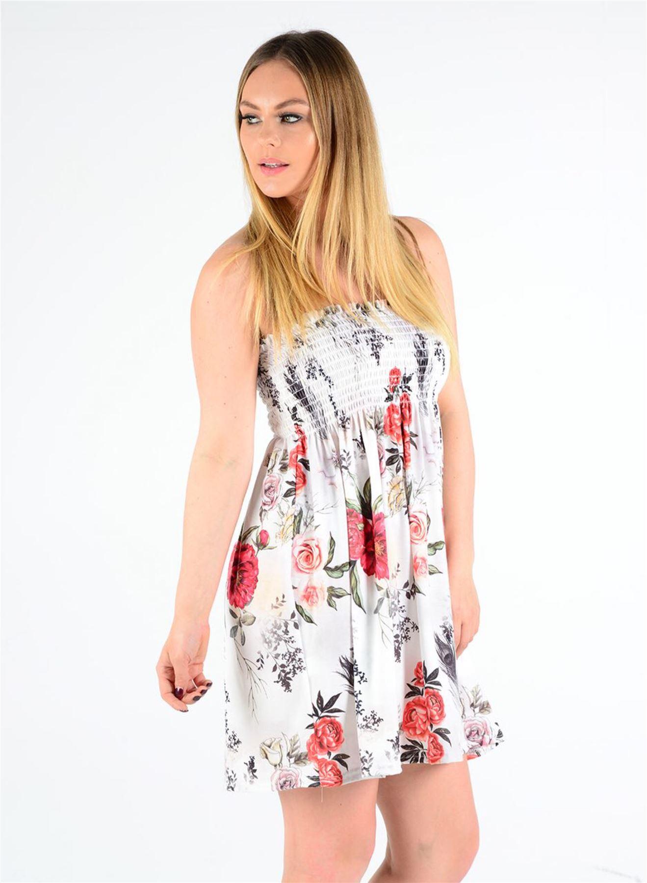 Nouveau Haut Mini Floral Feuille imprimer rapport réunis Haut Bandeau Boobtube Mini Haut Robe 4f85d1