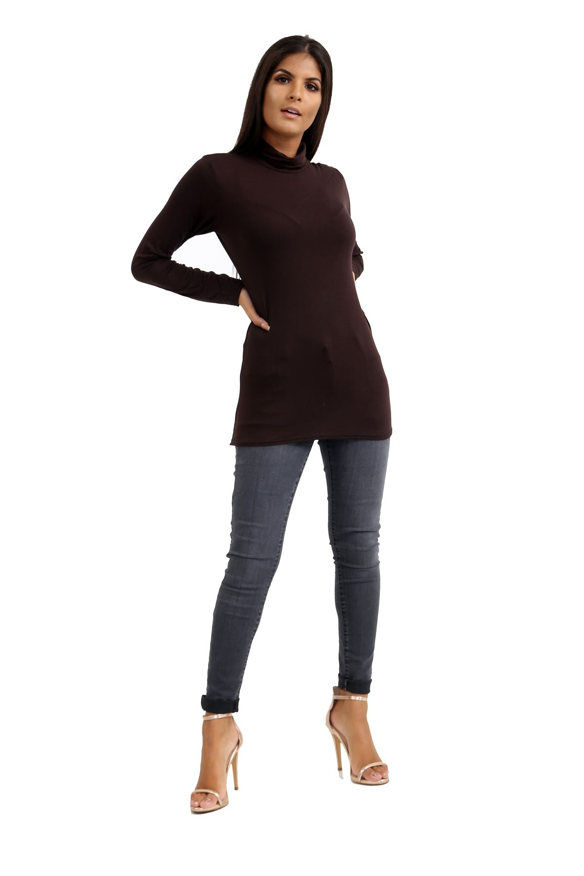 New-Ladies-Long-Sleeve-Plain-Turtle-Polo-Roll-Neck-Stretch-Jumper-T-Shirt-TeeTop thumbnail 31