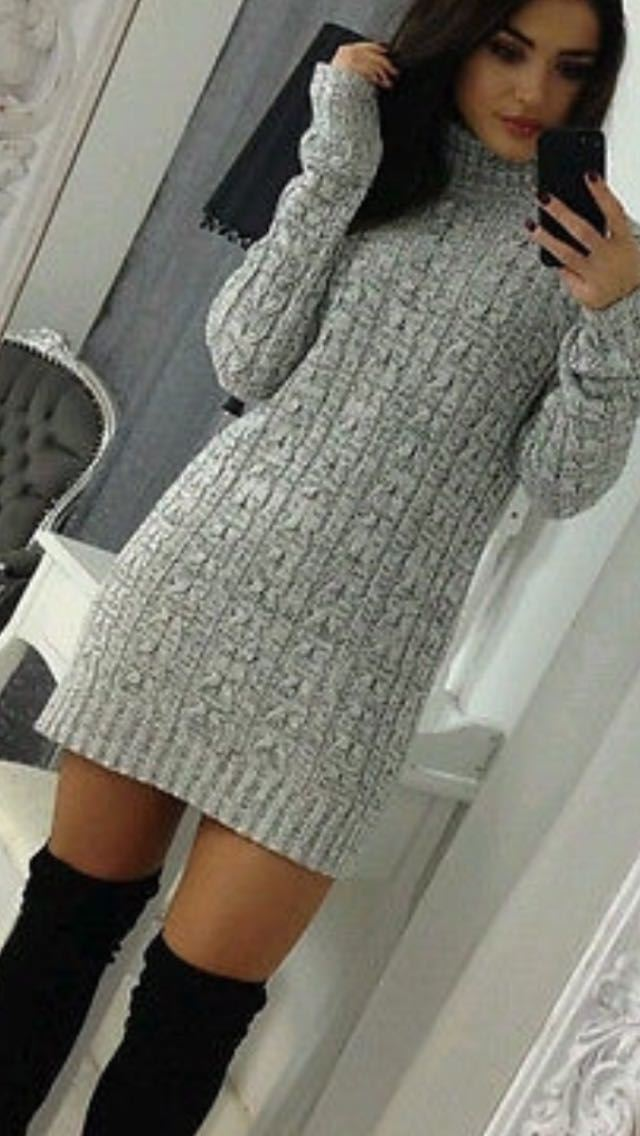 New-Ladies-Cowl-Polo-Neck-Cable-Knitted-Jumper-Pull-Bodycon-Tunic-Mini-Dress miniature 14