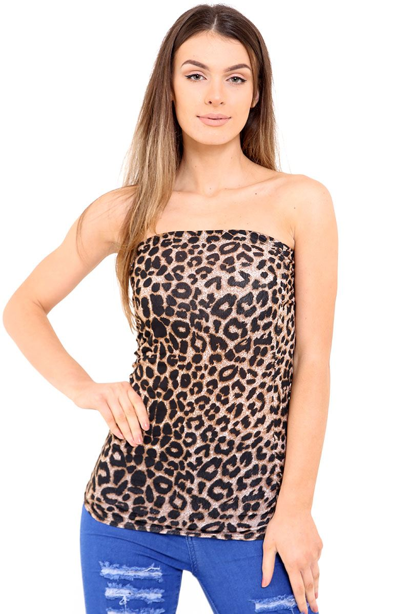 Womens Printed Ruched Bandeau Boob Tube Strapless Sleeveless Crop Top